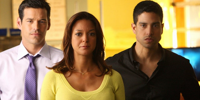 From left, Eddie Cibrian as Jesse Cardoza, Eva La Rue as Natalia Boa Vista, and Adam Rodriguez as Eric Delko in 'CSI: Miami.' (Photo by Robert Voets/CBS via Getty Images)