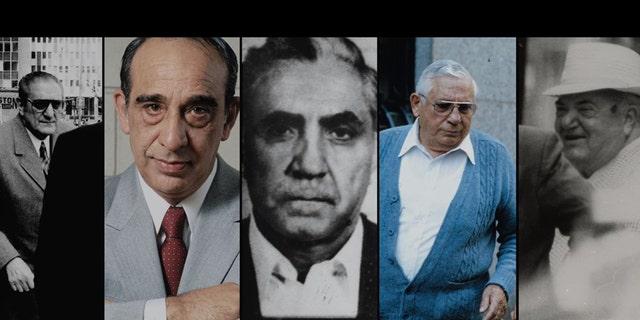 New York City crime family bosses from left to right; Carlo Gambino, Joseph Colombo, Joe Bonanno (formerly Maranzano), Tommy Lucchese (formerly Gagliano) and Vito Genovese (formerly Luciano).