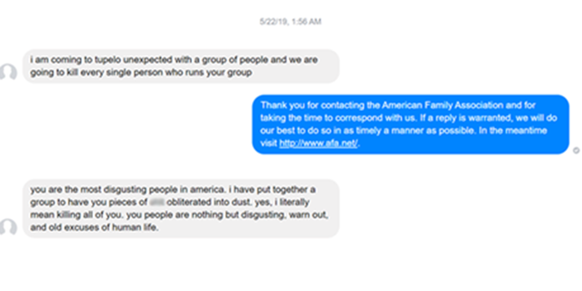 American Family Association in Tupelo, MIss., received two threatening messages from Chase Davis, 21, of Pompano Beach, Fl., on Facebook Messenger.