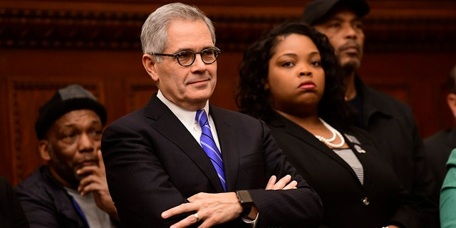 Philadelphia District Attorney Larry Krasner reacts while being mentioned by Danielle Outlaw at a press conference announcing her as the new Police Commissioner on December 30, 2019 in Philadelphia, Pennsylvania. Outlaw, Philadelphia's first black female police commissioner, was previously the police chief in Portland, OR. (Photo by Mark Makela/Getty Images)