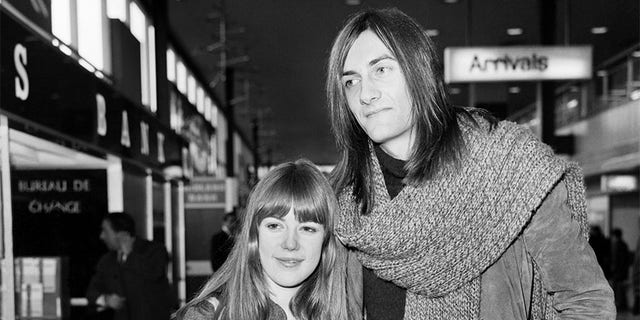 Jenny Boyd pictured with Mick Fleetwood at Heathrow. February 1970.