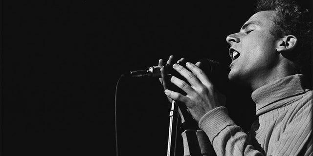 Art Garfunkel of Simon and Garfunkel performs on stage at the Monterey Pop Festival on June 16 1967 in Monterey, Calif.