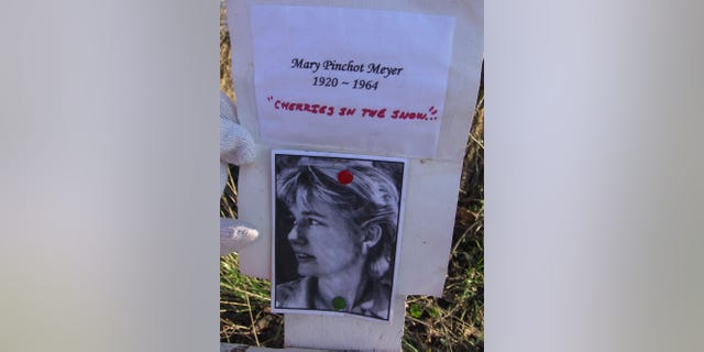 A non-official memorial along the C&O Canal Towpath to Mary Meyer, who was shot and killed at the same place in 1964. Photo was taken on January 28, 2008, in Washington, DC.
