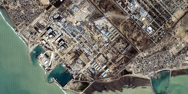 This satellite image from Space Imaging shows a nuclear reactor facility on January 13, 2002 near Bushehr, Iran.  The United States believes that this facility and others in Iran could be used by Iran to produce nuclear weapons.  (Photo by Space Imaging Middle East / Getty Images)