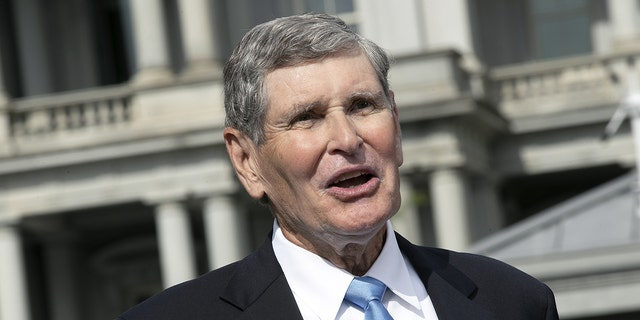 Jim Ryun, former Republican Representative from Kansas, speaks during a television interview outside the White House in Washington D.C., U.S. on Friday, July 24, 2020. Ryun, a three-time Olympian, will receive the Presidential Medal of Freedom from President Donald Trump today. Photographer: Stefani Reynolds/Bloomberg via Getty Images