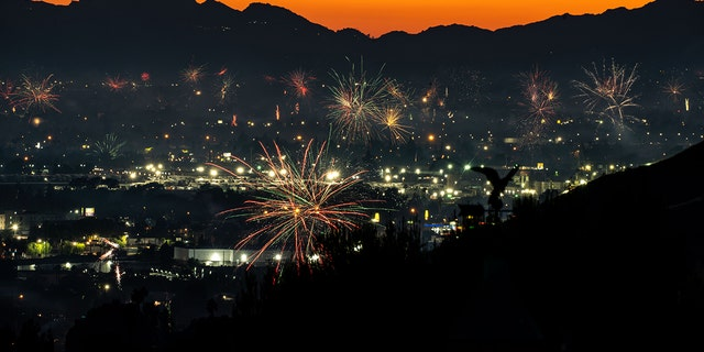 Fireworks over North Hollywood, as seen from Burbank on Saturday, July 4, 2020 in Burbank, CA.