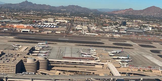 Aerial view of Phoenix Sky Harbor International Airport on January 6, 2020.
