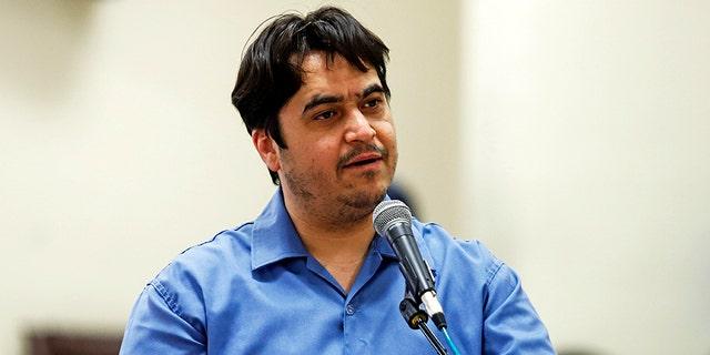 Iranian journalist Ruhollah Zam speaks during his trial at the Revolutionary Court, in Tehran, Iran, June 2, 2020. (Associated Press)