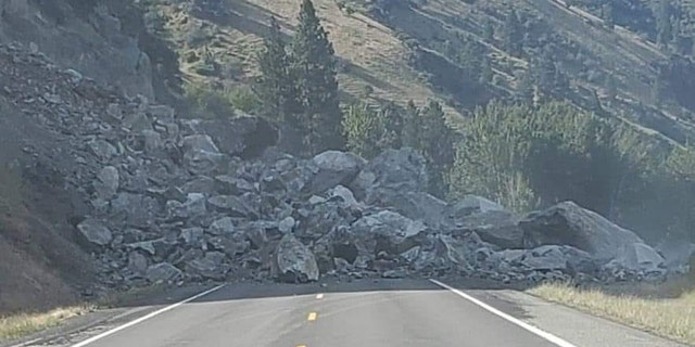 U.S. Route 95 in Idaho was blocked by a rockslide on Friday.