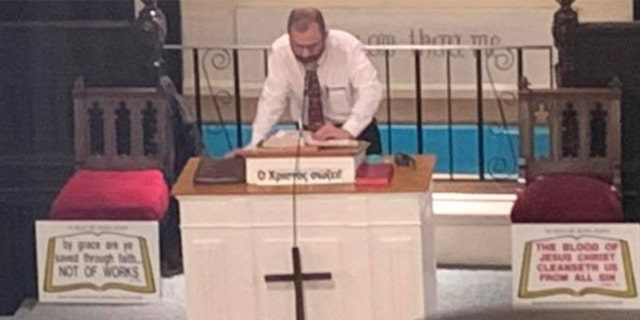 Grape Baptist Church Pastor John Koletas preaches as the congregation has been targeted by Black Lives Matter protesters for a gun-giveaway and controversial comments he's made from the pulpit but the pastor doesn't apologize.