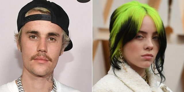 Billie Eilish (right) apparently had a childhood obsession with the music of Justin Bieber (left), which prompted her parents to consider sending her to therapy, according to Eilish's mom.
