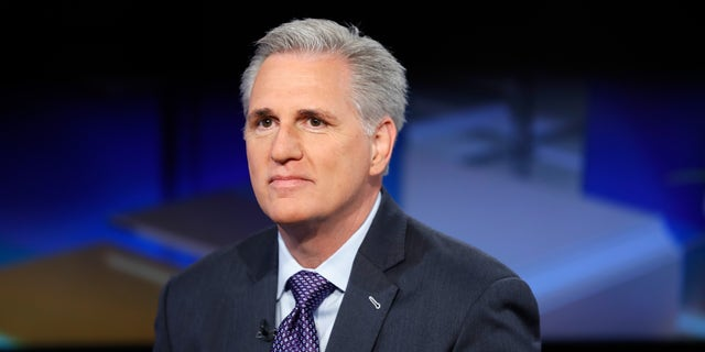 "House Minority Leader, Kevin McCarthy visits ""Mornings With Maria"" at FOX Business Network Studios on April 23, 2018, in New York City. (John Lamparski/Getty Images)"