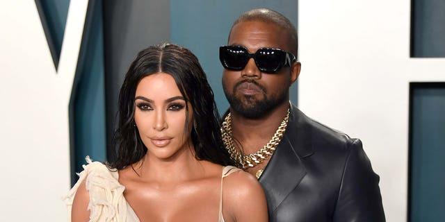 Kim Kardashian and Kanye West attend the 2020 Vanity Fair Oscar Party hosted by Radhika Jones at Wallis Annenberg Center for the Performing Arts on Feb. 9, 2020 in Beverly Hills, Calif.