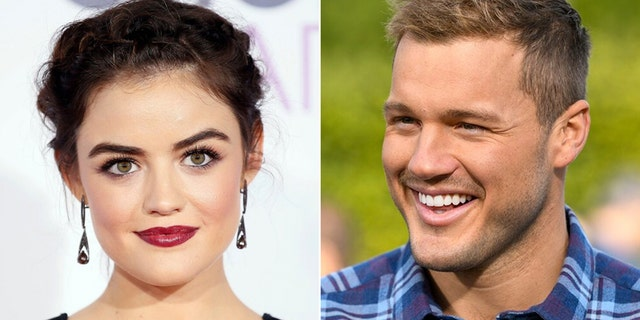 """Actress Lucy Hale, left, who raved about """"Bachelor"""" star Colton Underwood, right, two years ago, reportedly reached out to him following his split from finalist Cassie Randolph."""