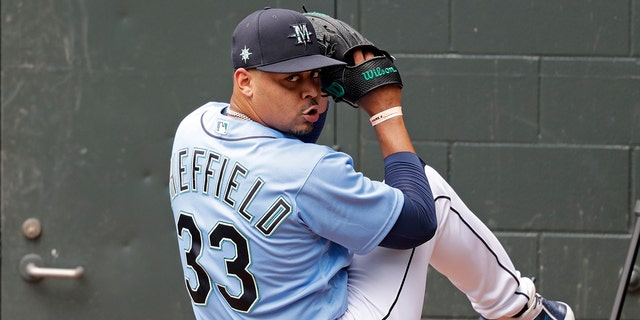 Seattle Mariners pitcher Justus Sheffield throws in the bullpen at a baseball practice Tuesday, July 7, 2020, in Seattle. Even in a 60-game sprint season, this will not be the year that team comes to fruition. If anything, the truncated season may delay some of the Mariner's rebuilding plans, but still with the optimistic hope the club begins turning the corner into contention in 2021. (AP Photo/Elaine Thompson)