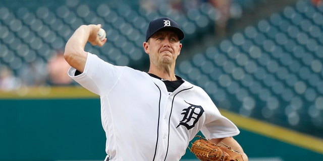 FILE - In this Friday, Sept. 20, 2019 file photo, Detroit Tigers pitcher Jordan Zimmermann throws against the Chicago White Sox in the first inning of a baseball game in Detroit. Detroit Tigers manager Ron Gardenhire said Saturday, July 18, 2020 that right-hander Jordan Zimmermann is going on the 45-day injured list because of a right forearm strain.(AP Photo/Paul Sancya, File)