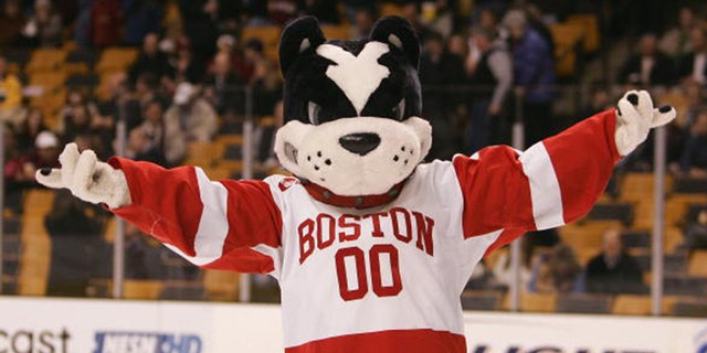 Mascot Rhett the Terrier of the Boston University Terriers entertains from the ice during the Beanpot Tournament Championship Game against the Boston College Eagles on February 12, 2007 at TD Banknorth Garden in Boston, Massachusetts. Boston University defeated the Boston College Eagles 2-1 in overtime. (Photo by Elsa/Getty Images)