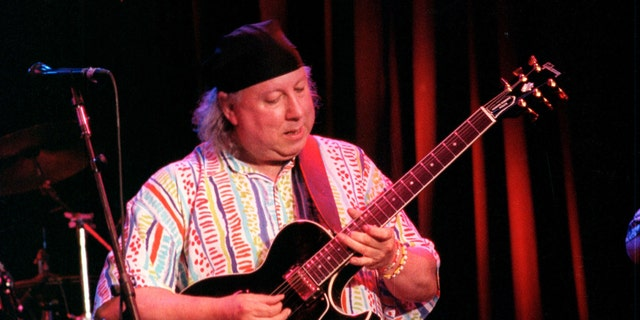 Peter Green is performing at the Fillmore Audiitorium in San Franciso, California on January 1, 2003.