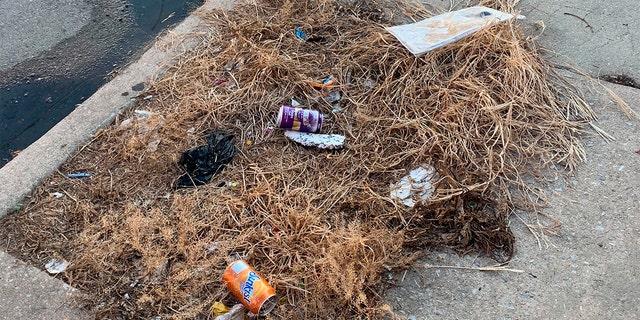 Trash rests on a street Tuesday, July 28, 2020, in the Kensington neighborhood of Philadelphia. (Kara Kneidl via AP)