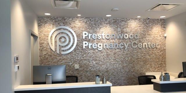 The reception desk at the Prestonwood Pregnancy Center in Dallas, Texas.