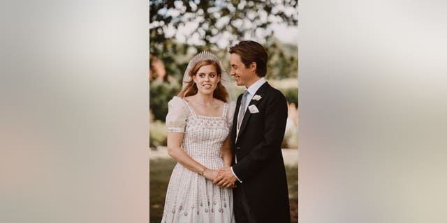 Princess Beatrice and Edoardo Mapelli Mozzi pose for a photo on July 17 after their wedding at The Royal Chapel of All Saints at Royal Lodge, Windsor, England.
