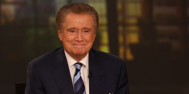"TV personality Regis Philbin attends a press conference on his departure from ""Live with Regis and Kelly"" at ABC Studios on November 17, 2011 in New York City."