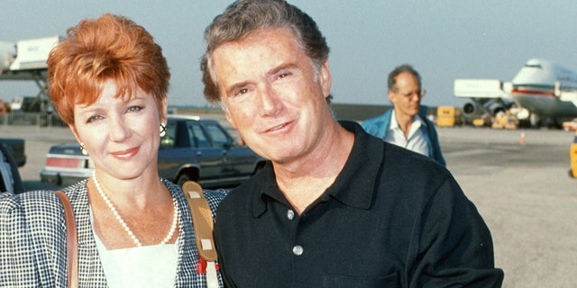 Regis Philbin and Joy Philbin during Malcolm Forbes 70th Birthday Party Departs JFK International Airport For Morocco - August 18, 1989 at JFK Airport in New York City, New York, United States. (Photo by Ron Galella/Ron Galella Collection via Getty Images)