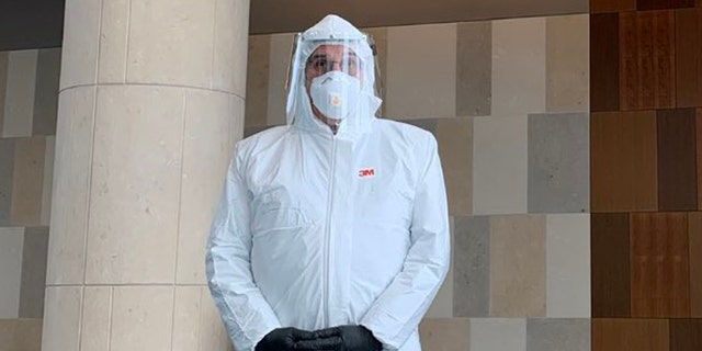 Defense lawyer Samuel Rabin turned heads this week when he showed up to a federal courthouse in a full hazmat suit complete with gloves<br>