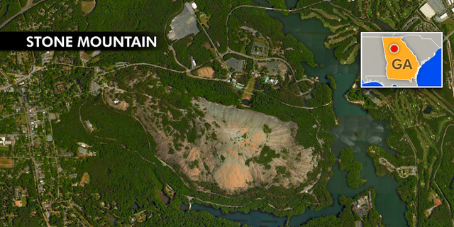 Overhead picture of the size of Stone Mountain Park.