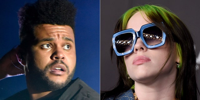 The Weeknd and Billie Eilish both scored six nominations. (AP Photo)