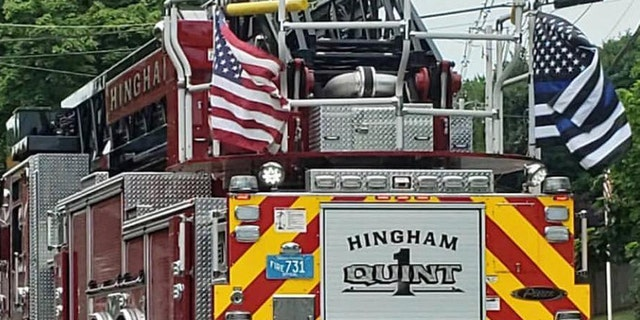 The 'Thin Blue Line' flags that had been displayed on the Hingham Fire Department's trucks have been taken down. (Hingham Firefighters Local 2398)
