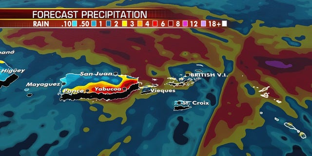 Heavy rain is possible over the next couple of days over Puerto Rico.