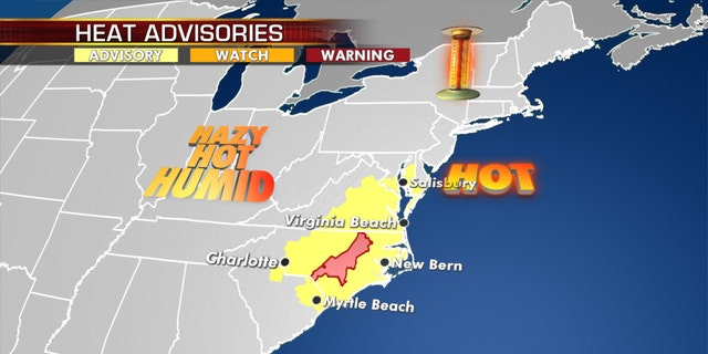Heat advisories and excessive heat warnings on Tuesday across the Carolinas into the mid-Atlantic.