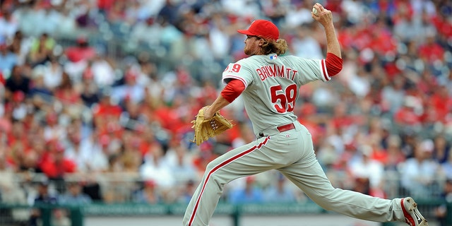 Tyson Brummett #59 of the Philadelphia Phillies pitches in his major league debut against the Washington Nationals at Nationals Park on October 3, 2012 in Washington, DC. (Photo by G Fiume/Getty Images)