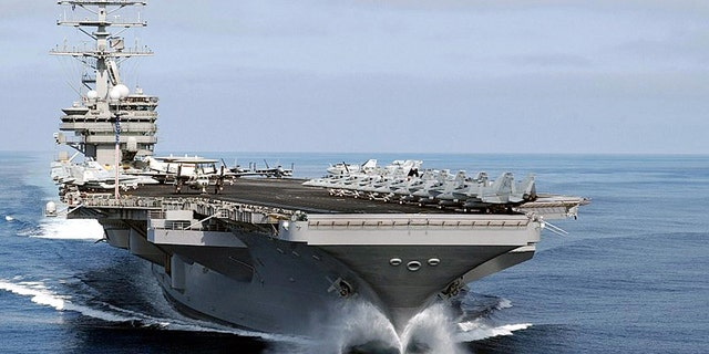 The nuclear-powered aircraft carrier USS Nimitz cruises towards the port of Chennai, 01 July 2007 - file photo.