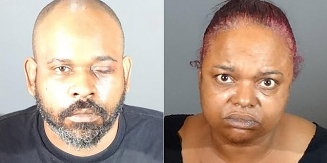 A security guard, Umeir Hawkins (left), shot a man who was not wearing a mask in a supermarket. He has been charged with murder and him and his wife, Sabrina Carter (right) have both been charged with one count each ofpossession of a handgun by a felon.