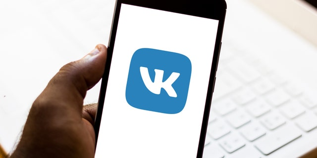 In this photo illustration the VKontakte (VK) logo is seen displayed on a smartphone.