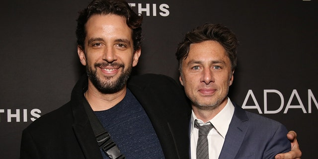Nick Cordero, left, died at the age of 41 from complications as a result of COVID-19 in July last year.  He is pictured here with his friend Zach Braff.  (Photo by Walter McBride / FilmMagic)