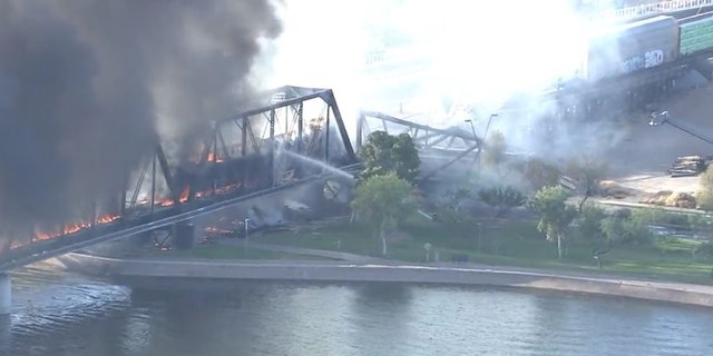 2020  July 29  In Tempe, Arizona, after derailment and fire, the train bridge partially collapsed.