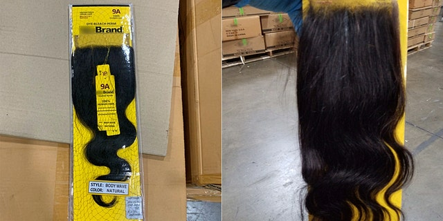 Federal customs officers in Newark seized part of a 13-ton shipment of products officials suspect were made with human hair. (CBP)