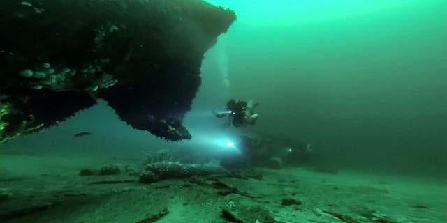 These stunning underwater pictures show the wreckage of a German submarine that was sunk during the Second World War. (Credit: SWNS)