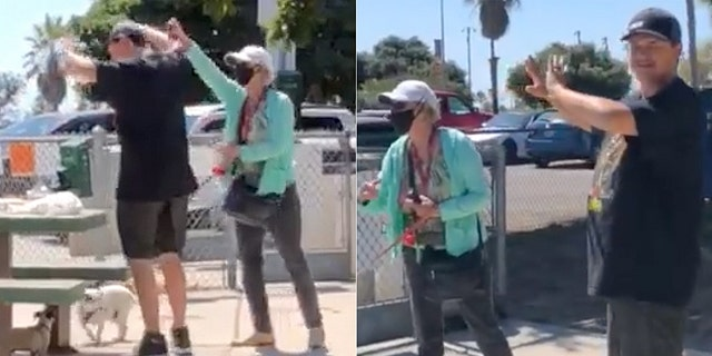 Images from cellphone video show the husband of Ash O'Brien being attacked with pepper spray by a woman at a dog park in San Diego. O'Brien said the woman was angry she and her husband were not wearing coronvirus masks