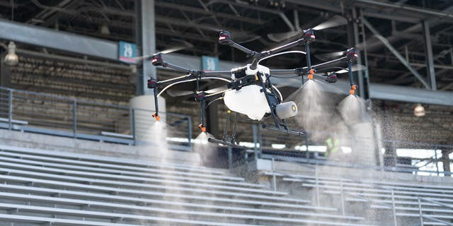 R-Water is a disinfectant that is being sprayed from drones to disinfect outdoor event spaces.