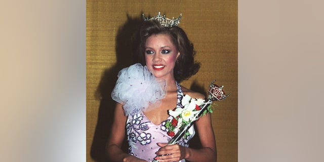 Vanessa Williams poses after being crowned Miss America 1984 in Atlantic City, N.J., September 17, 1983. (AP Photo/Files)