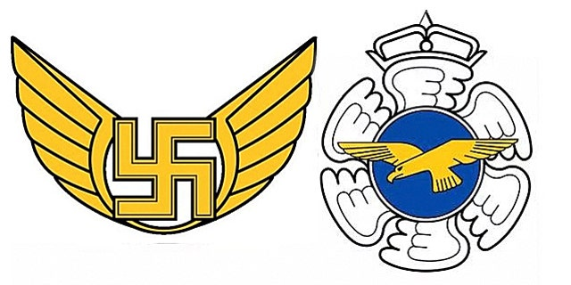 The old logo for Finland Air Force Command on the left, and the new logo on the right. (Finland Ministry of Defense)