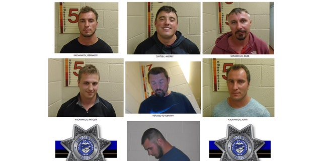 Mugshots for seven white men police said harassed a Black family with racial slurs and Nazi salutes at an Oregon beach on the Fourth of July.
