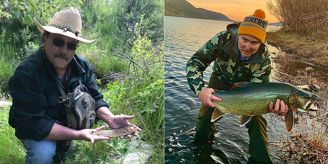 Michael Christiansen and his record Yellowstone cutthroat trout (pictured left) and David MacKay with his record-setting splake (pictured right.)