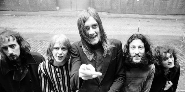 (L-R) John McVie, Danny Kirwan, Mick Fleetwood, Peter Green, and Jeremy Spencer of the rock group 'Fleetwood Mac' pose for a portrait in 1969 in Los Angeles, California.