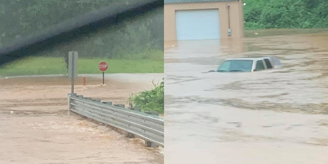 Floodwaters overtook roads and left some vehicles stranded on Wednesday as drenching storms pounded northern Mississippi.