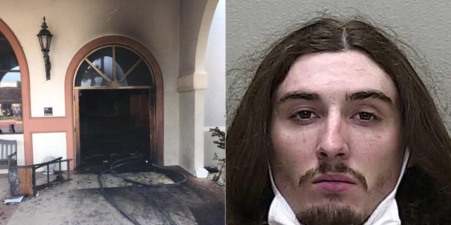 Steven Anthony Shields, 24, allegedly crashed his vehicle through the front doors of the Queen of Peace Catholic Church in Ocala and then set a fire in the building's foyer area, according to the sheriff's office.